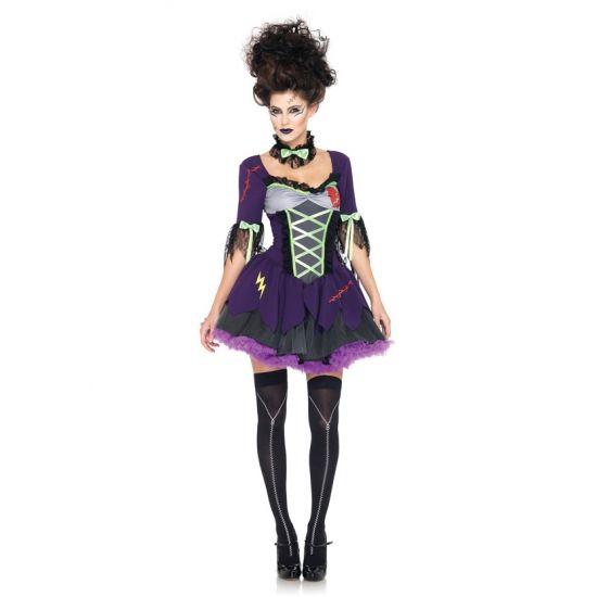 Frankensteins bruid kostuum. Deze sexy paarse jurk van Frankensteins bruid is de perfecte Halloween outfit. De jurk is inclusief tule rok, strik om de nek en de strik op de achterzijde van de jurk.