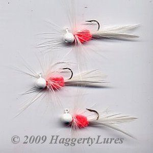 Haggerty Lures - Bugz - small White/Hot Orange panfish crappie jig, $1.75 (http://www.haggertylures.com/bugz-small-white-hot-orange-panfish-crappie-jig/)