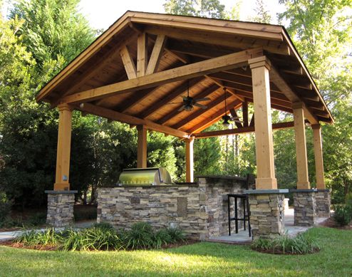 Pergola with solid roof stone and timber columns garden for Outdoor kitchen roof structures