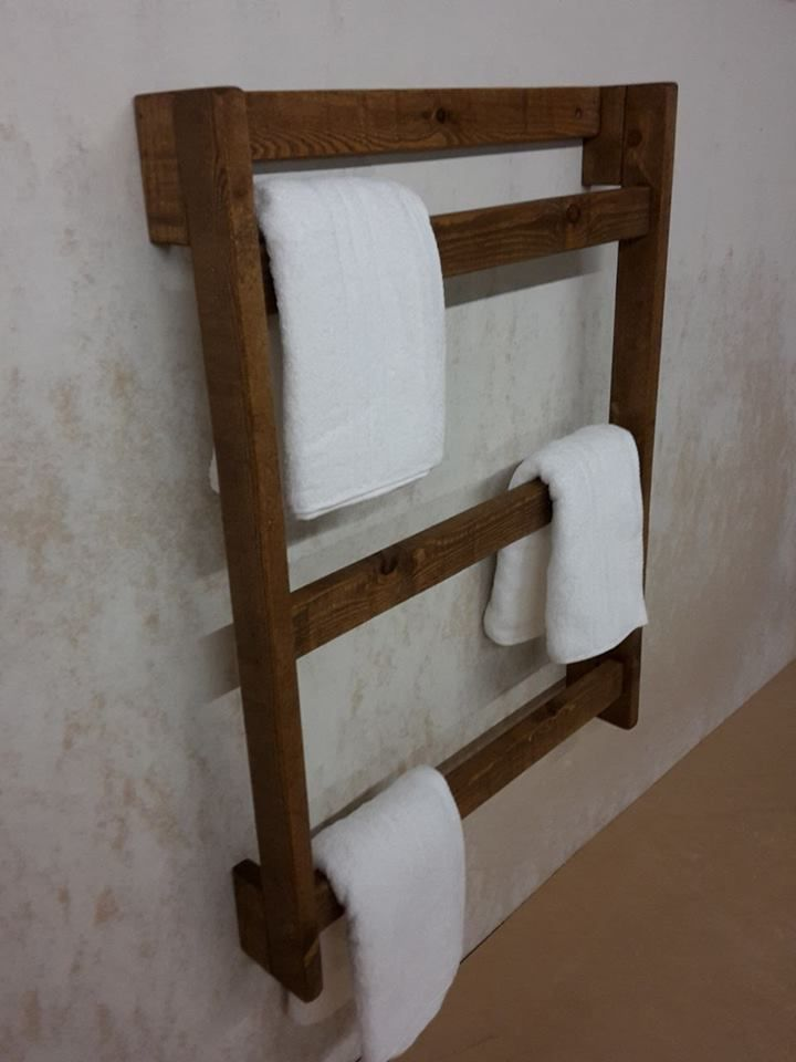 towel ladder wall mounted rustic wooden towel rail free uk pp various sizes in home furniture diy bath towel rails - Bathroom Accessories Towel Rail