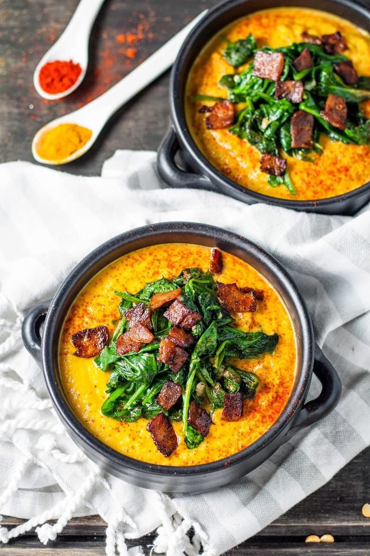 tasse d'amour: Smoked Paprika Yellow Split Pea Soup with Wilted Spinach and Turkey Bacon