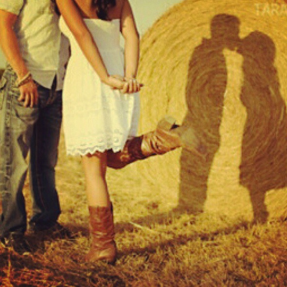 -Engagement Picture Idea-  *kissing with shadow on hay bale!