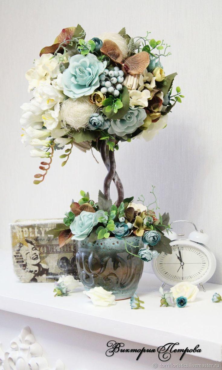 """Купить Интерьерное деревце """"Бирюзовая вуаль"""" - бирюзовый, топиарий, цветочная композиция, интерьерный букет"""