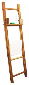 """Towel Ladder With Eco Friendly Teak Oil, 18"""" x 64"""" - tropical - Towel Bars And Hooks - Other Metro - Haussmann Inc."""