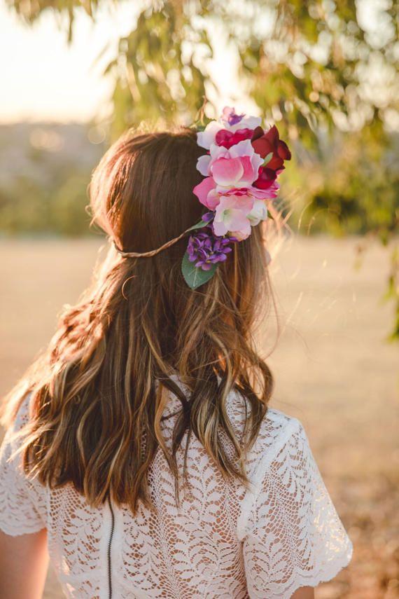 red rose pink flower crown // wedding flower crown / spring