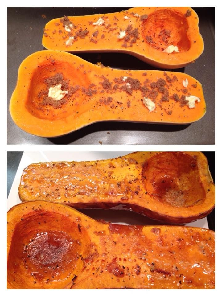 Sweet and Salty Roasted Butternut Squash Cut your butternut squash lengthwise and remove seeds Sprinkle with salt and pepper Add 1 teaspoon of butter or margarine to each half Sprinkle 1/2 Tbsp of brown sugar to each half Roast in oven at 400 for 30-40 minutes or until fork tender Makes 2 servings at 1 point each