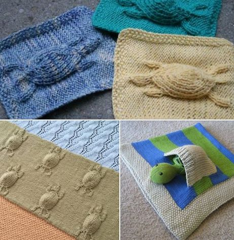 Celebrate #WorldTurtleDay with these turtle knitting patterns The free cable turtle cloth and Turtle's Journey Blanket (not free) knitting patterns are on http://intheloopknitting.com/cable-creatures-knitting-patterns/ Free Sheldon the Turtle Baby Blanket with toy turtle in its own pocket is at http://intheloopknitting.com/sea-animal-knitting-patterns/