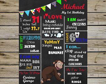 Curious George Printable First Birthday Chalkboard Curiou