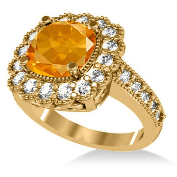 Allurez Citrine & Diamond Cushion Halo Engagement Ring 14k Yellow Gold... ($2,920) ❤ liked on Polyvore featuring jewelry, rings, 14k yellow gold ring, yellow diamond rings, 14k diamond ring, citrine engagement ring and diamond engagement rings