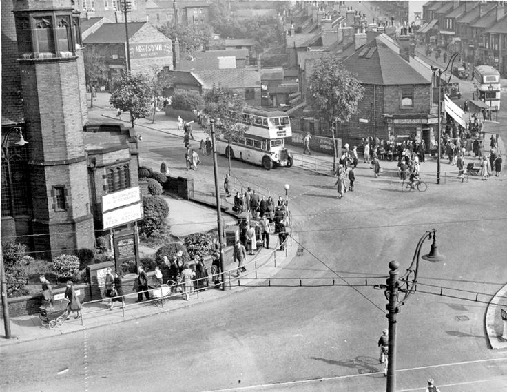 Elevated View of Bellhouse Road and Sicey Avenue showing shops and Firth Park United Methodist Church