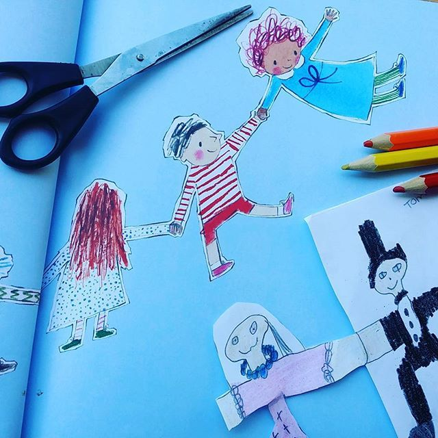 My girls and I pulled out our pencils and scissors after discovering Julia Donaldson's Paper Dolls at the library last week. Got to love it when a book prompts a craft project! I reckon our dolls are nearly as good as the ones in the book by illustrator Rebecca Cobb.  It's a lovely story, particularly for mums and daughters. #childrensbook #bookskidslove #picturebook #paperdolls #kidscrafts #juiadonaldson #rebeccacobb