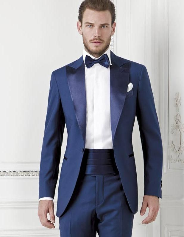 67c33ff45 New Fashion Style One Button Blue Groom Tuxedos Groomsmen Men's Wedding  Prom Suits Bridegroom (Jacket