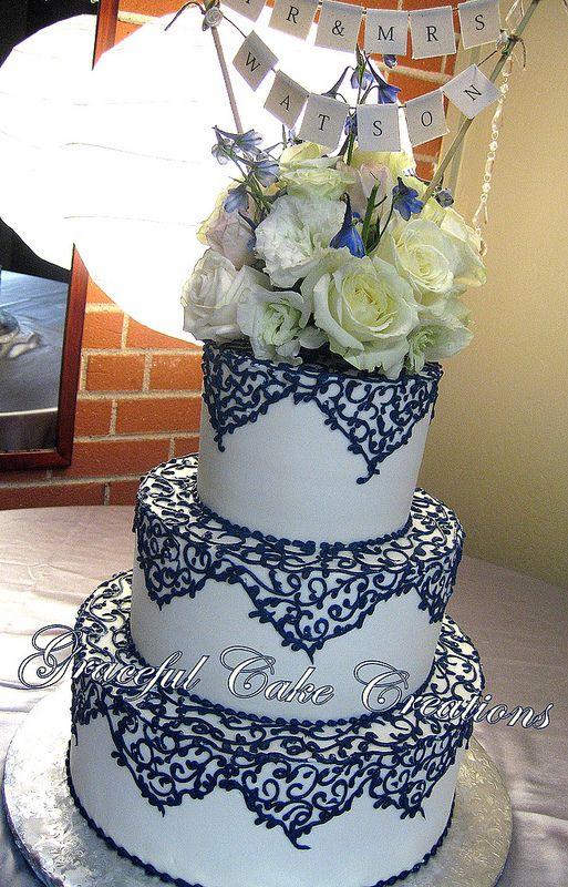 Elegant Ivory Wedding Cake With Navy Blue Lace Wedding