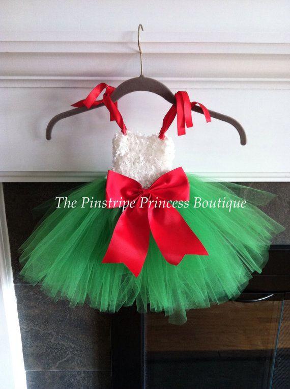 Christmas tutu dress/Fuzzy top/GreenRed by ThePinstripePrincess, $30.00