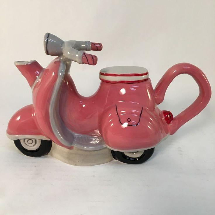 Blue Sky Clayworks Ceramic Hand Painted Vespa Scooter Retro Vintage Teapot Tea