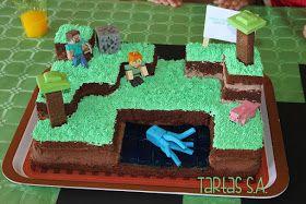 Una tarta para aficionados al juego Minecraft, en este caso la he preparado para el cumple de mi hijo Martín.             Yo de Minec...