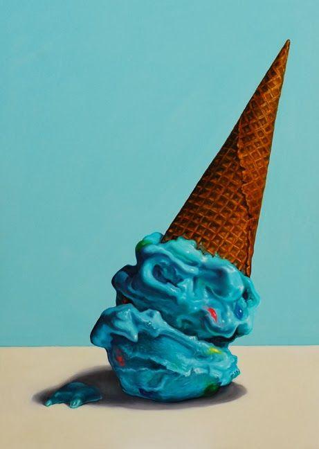 Ice cream painting, still life, food art, realism oil painting. jeanne vadeboncoeur