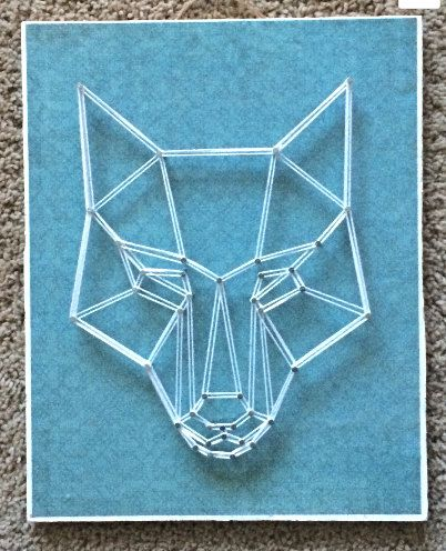 Geometric Wolf Head String Art, Decoupaged Wood, One of a Kind, Teal, Mod Podge, Wall Hanging, Home Decor
