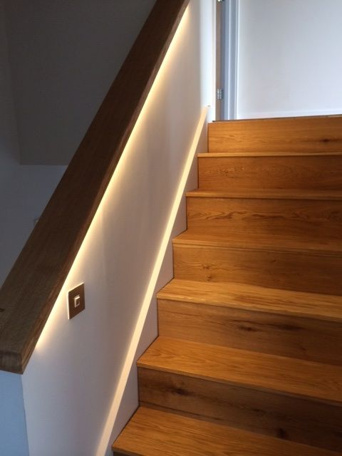 oak staircase and handrail with custom led strip lighting staircases pinterest lights. Black Bedroom Furniture Sets. Home Design Ideas