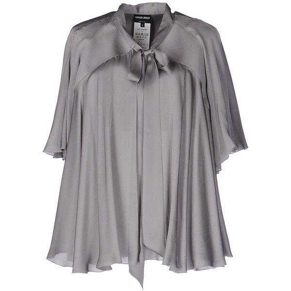 Giorgio Armani Shirt ($175) ❤ liked on Polyvore featuring tops, grey, grey shirt, short sleeve shirts, giorgio armani, gray top and short-sleeve shirt