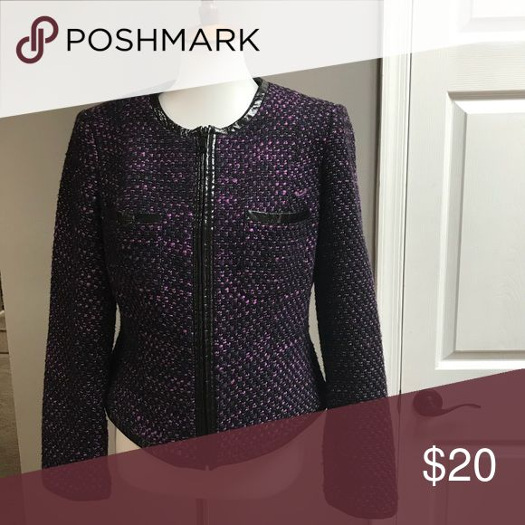 Stylish jacket Cropped jacket purple and black tweed black piping, Can be worn alone or layer black turtleneck underneath, machine wash cold gentle, hang dry Lauders Jackets & Coats