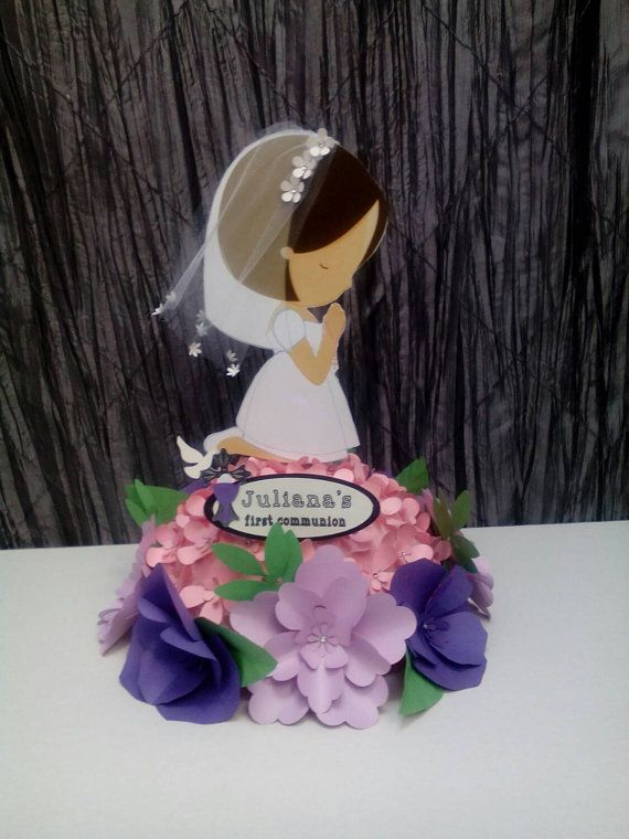 First communion centerpice by UniqueandGlitzy on Etsy