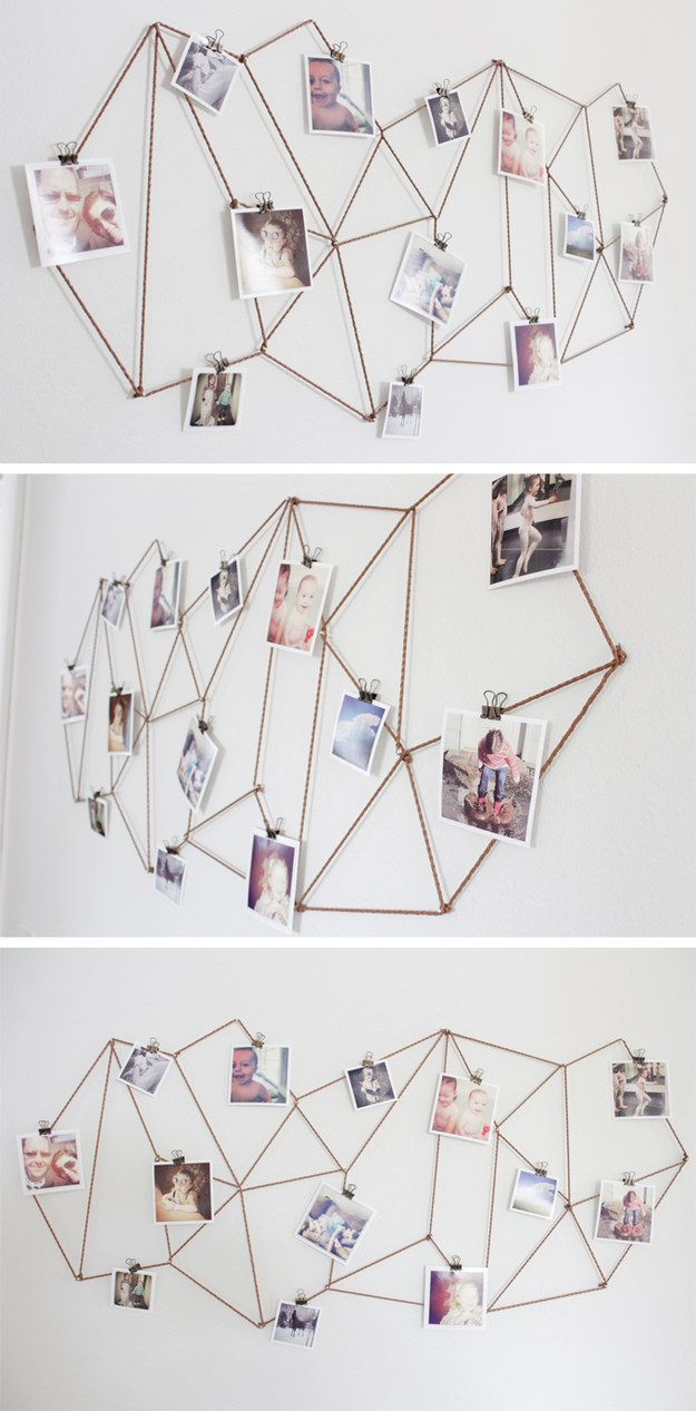 Use twine to create this modern geometric display. | 27 Unique Photo Display Ideas That Will Bring Your Memories To Life