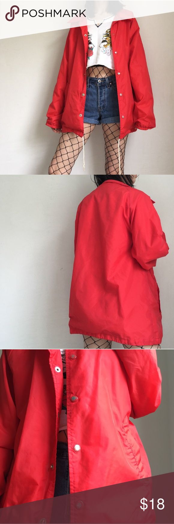 Red Windbreaker bright red windbreaker with button snaps ❤️ so cute with a soft cotton flannel interior!! the paint on the buttons is chipping and there is a few spots on the inside near the arm, but overall in great condition. has two pockets and an interior pocket. size men's small. let me know if u have any questions ✨ Jackets & Coats