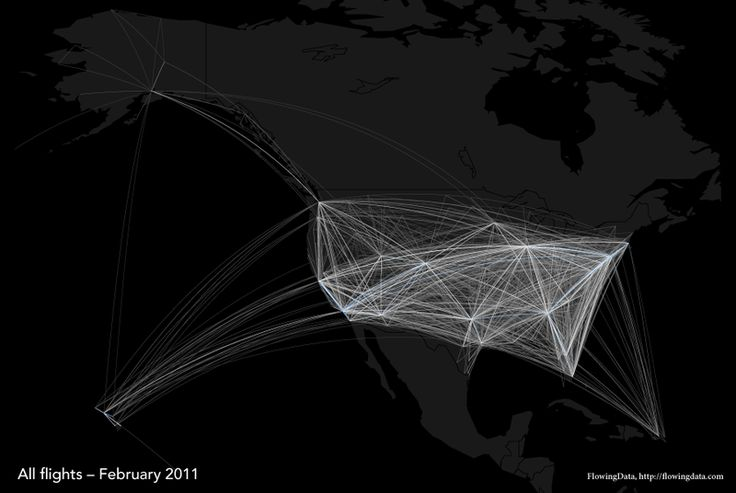 VIsualization of flights in US using R- could make the same image for sexual networks if you had the data