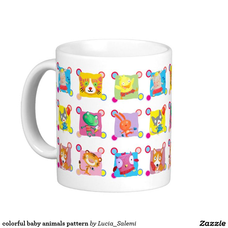 colorful baby animals pattern classic white coffee mug