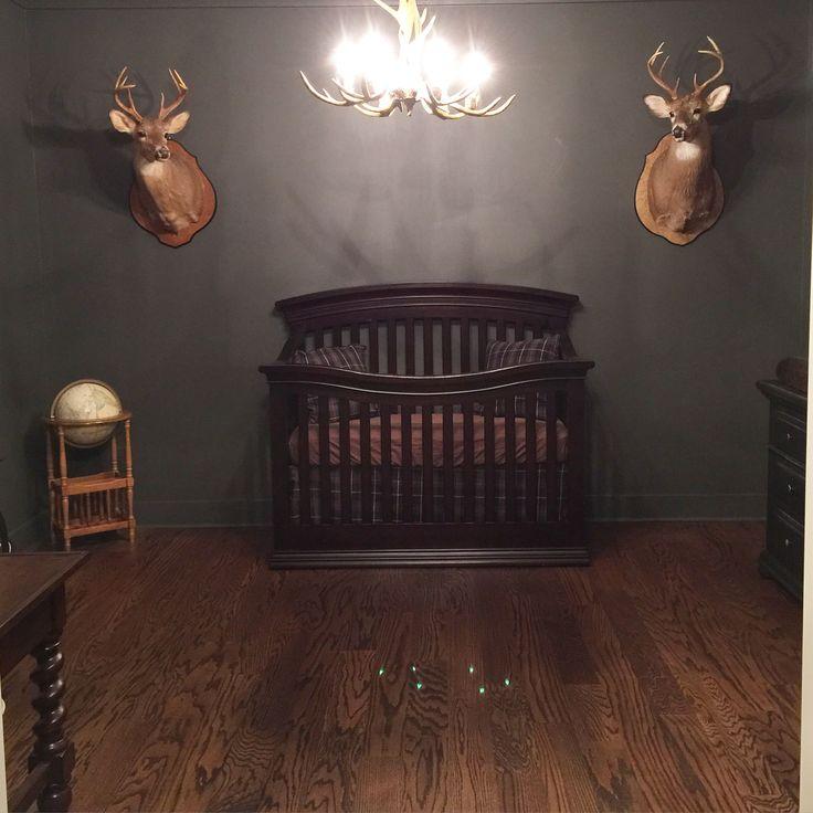 Southern boys nursery. Deer mount. Antler chandelier. Ballard designs