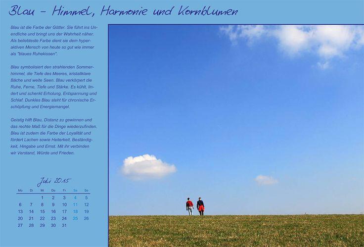 """Wandkalender """"Farben und Ihre Bedeutung"""", Kalenderblatt Juli: Blau - Himmel, Harmonie und Kornblumen"""