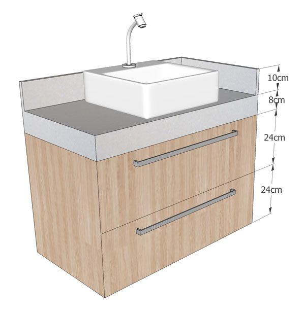 Bancada e gabinete banheiro com medidas - Cuba de sobrepor 35x35cm