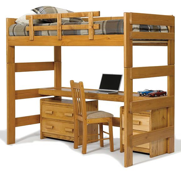 Boone Twin Size College Loft Bed Windsor Bunk Bed With