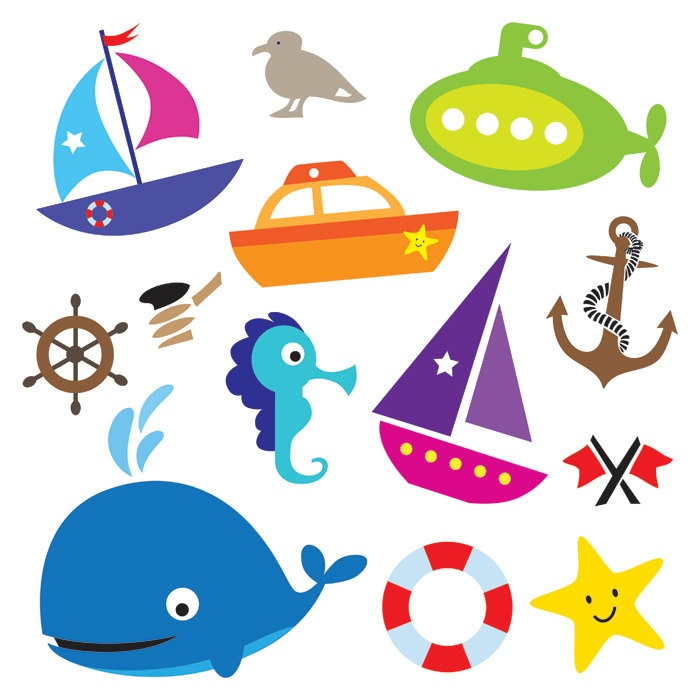Nautical Sea Design Elements Transportation Digital Clip Art Clipart DIY Baby Shower Scrapbooking Commercial Personal Use Whale Boat 10220. $4.90, via Etsy.