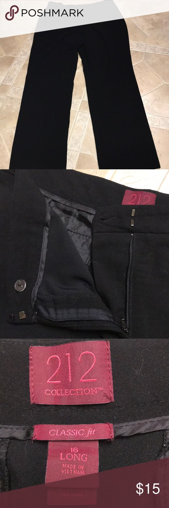 Women's black dress pants Women's classic fit black trousers. These pants are a long fit for tall women. Good condition and only worn a few times.   *Bundle and save 15%+ and only paying shipping once!!!  *Everything comes from a clean and smoke free household.  *Household is pet friendly 212 Collection Pants Trousers