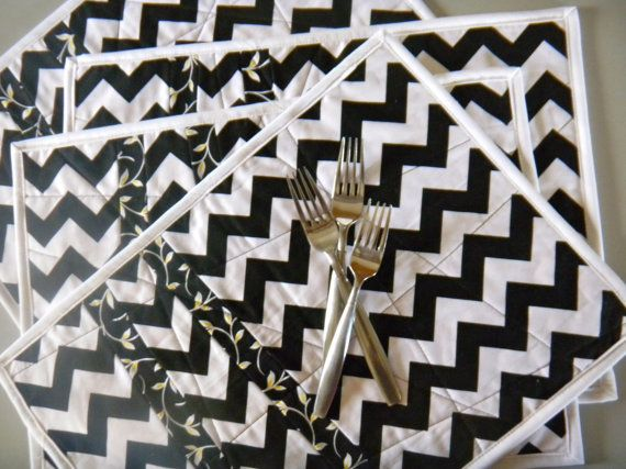 Black White Chevron Contemporary Placemats by TheQrazyQuiltster, $45.00