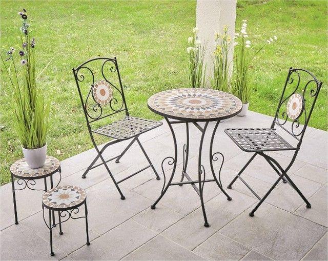 Terrasse Tendance Bistrot Mosaique Centrakor Chaise De Jardin Table De Jardin Table Et Chaises