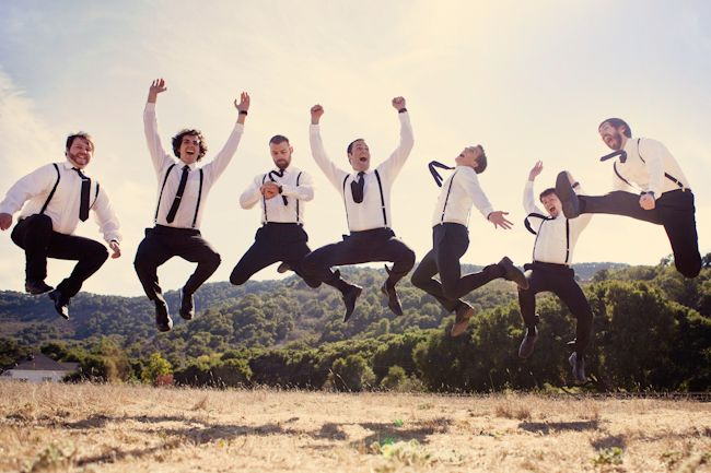 best groom's party jumping pic ever! (that kick! the watch check! those fist pumps!)