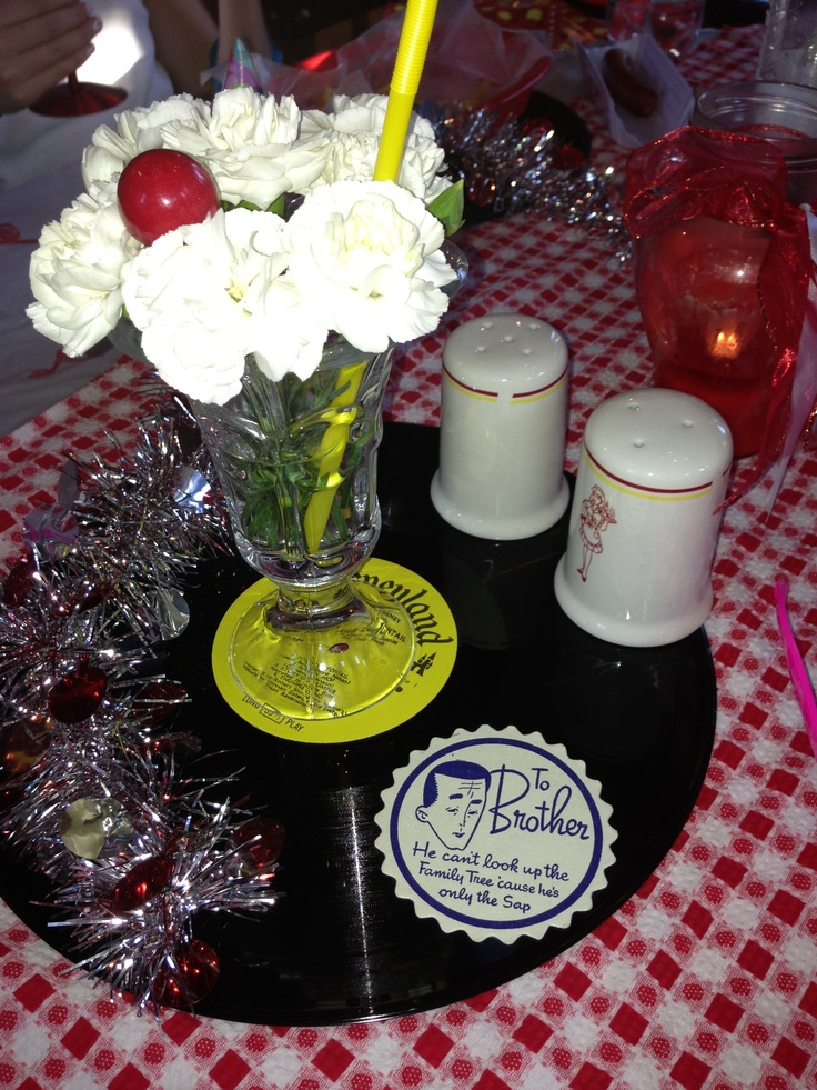 Flower Sundaes Centerpieces 1950 S Diner Style Party