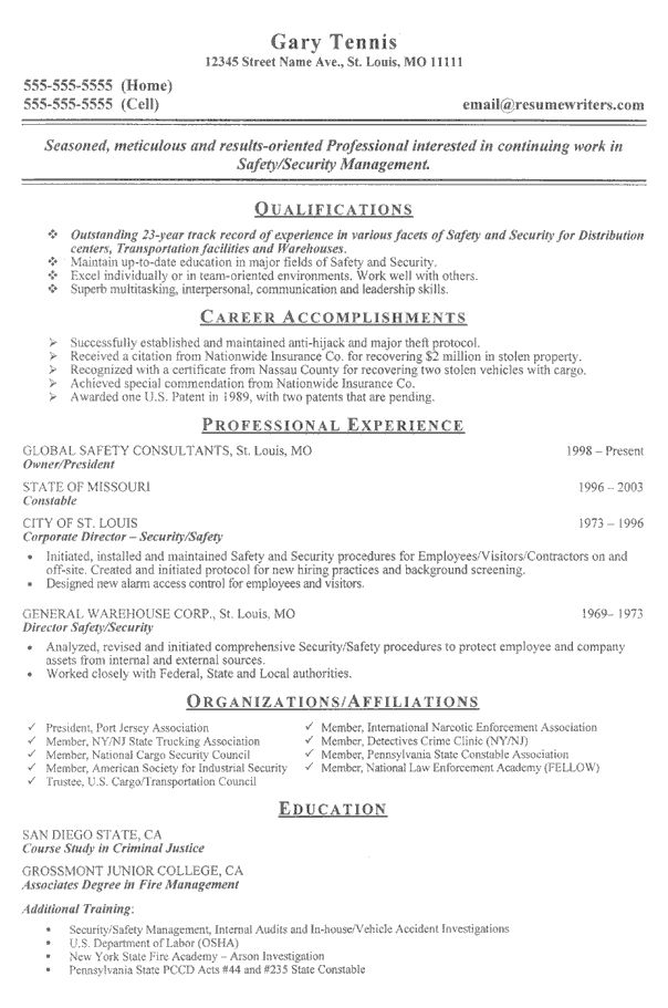 A Sample Resume For Someone Working In The Security Field Security