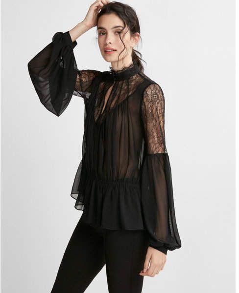 647bc7ee5851 Express high neck pieced lace chiffon blouse   Women's Fashion @ Shopstyle    Damas, Moda, Caballeros
