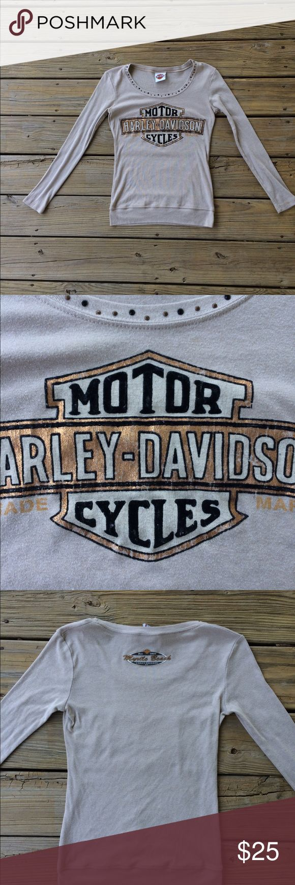 Harley Davidson Long Sleeved Shirt! This is a fitted long sleeve Harley Davidson shirt! The size is small. It's in good used condition! As you can see in picture number two, the logo is cracking. The color is a medium Cream/Tan! Harley-Davidson Tops Tees - Long Sleeve