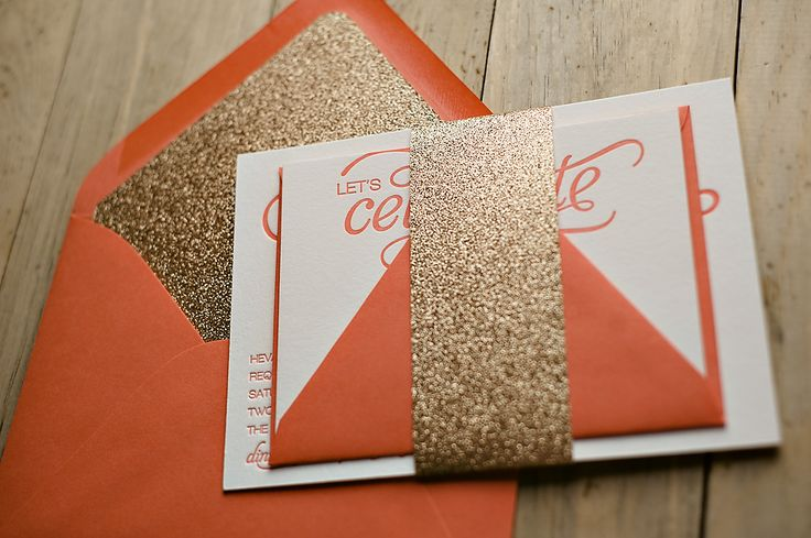 Coral and Gold glitter wedding invitations, letterpress wedding invitations http://justinviteme.com/collections/samples-1/products/nicole-sample