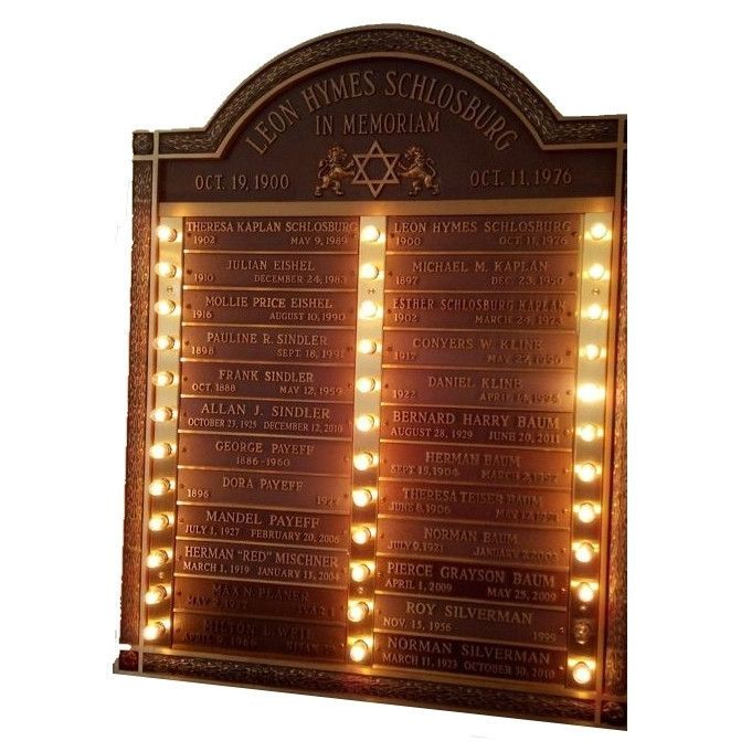 Yahrzeit Memorial Plaque - Bronze Tablet