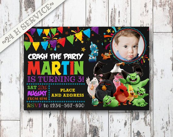 Angry Birds Chalkboard Birthday Invitation Design, Angry Birds Birthday, Angry Birds Invitation, Angry Birds Birthday Chalkboard