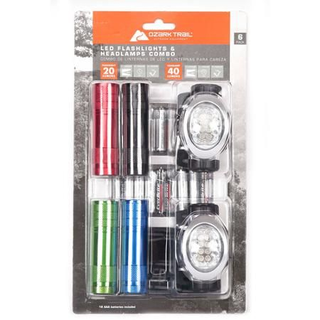 Ozark Trail LED Flashlight and Headlamp Combo, 6-Pack
