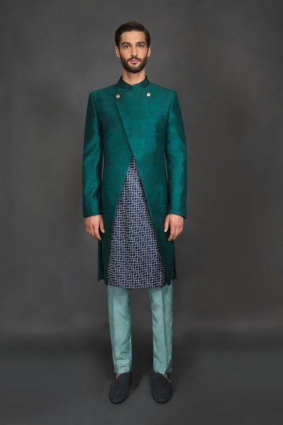 Groom Wear - Teal Colored Jacket | WedMeGood | Printed Sherwani with Teal Double Button Jacket with Sea Blue Pants  #wedmegood #indiangroom #indianwear #indianwedding #sherwani #teal #blue #printed
