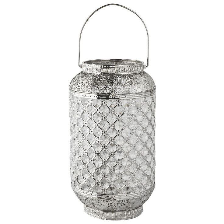 Stunning Moroccan Style Chrome Jewel Cutwork Lantern Candle Holder Brand New