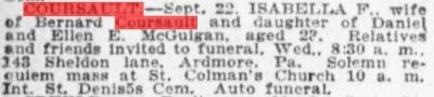 Genealogical Gems: Sunday's Obituary: Isabella Coursault died a newly...